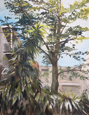 Bamboo in Amsterdam, cityscape in oil on paper 50x65 cm by Philine van der Vegte