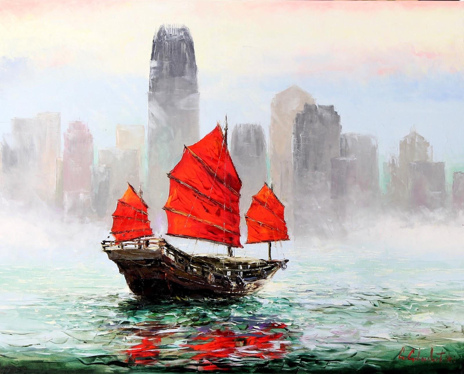Gleb Goloubetski Fog on Hong Kong Harbour