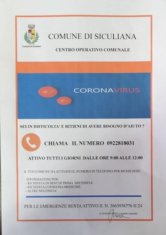 Attivo il Centro Operativo di Siculiana per fronteggiare l'emergenza Coronavirus
