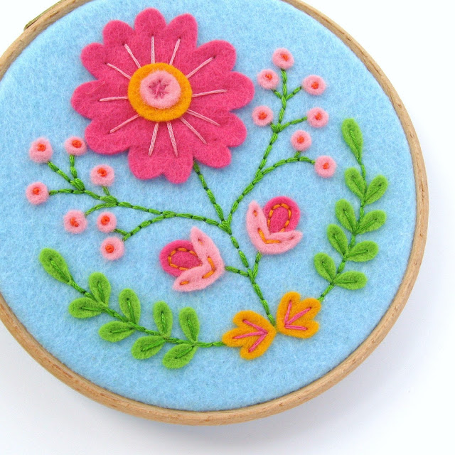 Folk Floral Hoop Art Tutorial PDF Sewing Pattern by Laura Lupin Howard