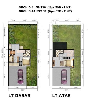 Denah Rumah ORCHID 4 dan 4A tipe 59B (2 KT) - Citra Indah City