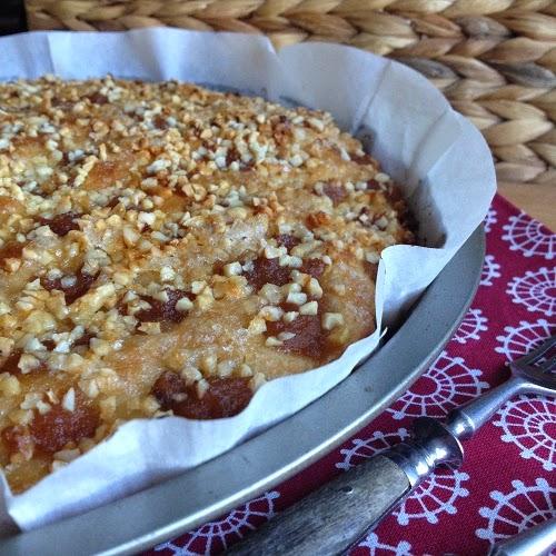 Beerdigungskuchen Deluxe ~ Zuckerkuchen mit Apfelmus und Mandeln