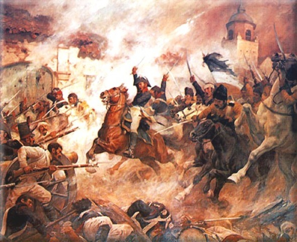The comuneros fighting a contingent of soldiers