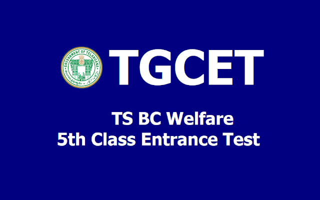 TGCET 2019 MJP TS BC welfare 5th class admission test