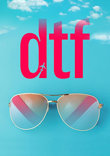 graphic art poster, blue sky sunglasses and DTF with an aeroplane shape cut out of the D