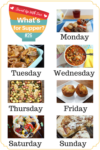 Cheesy Beef Bake, Slow Cooker Roast Beef, Sheet Pan Lemon Chicken, and more are featured at What's for Supper Sunday.
