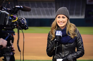 Kylie Bearse working as a reporter