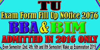 Exam Form Notice for BBA and BIM Even Semester 2076