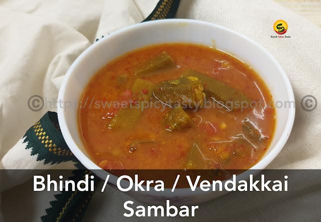 In a South Indian household, Sambar is a staple menu and a perfect accompaniment with steaming hot rice, okra sambar , podi pota sambar , sambar without coconut masala , no coconut sambar , can we make sambar without coconut , bhindi sambar , okra sambar