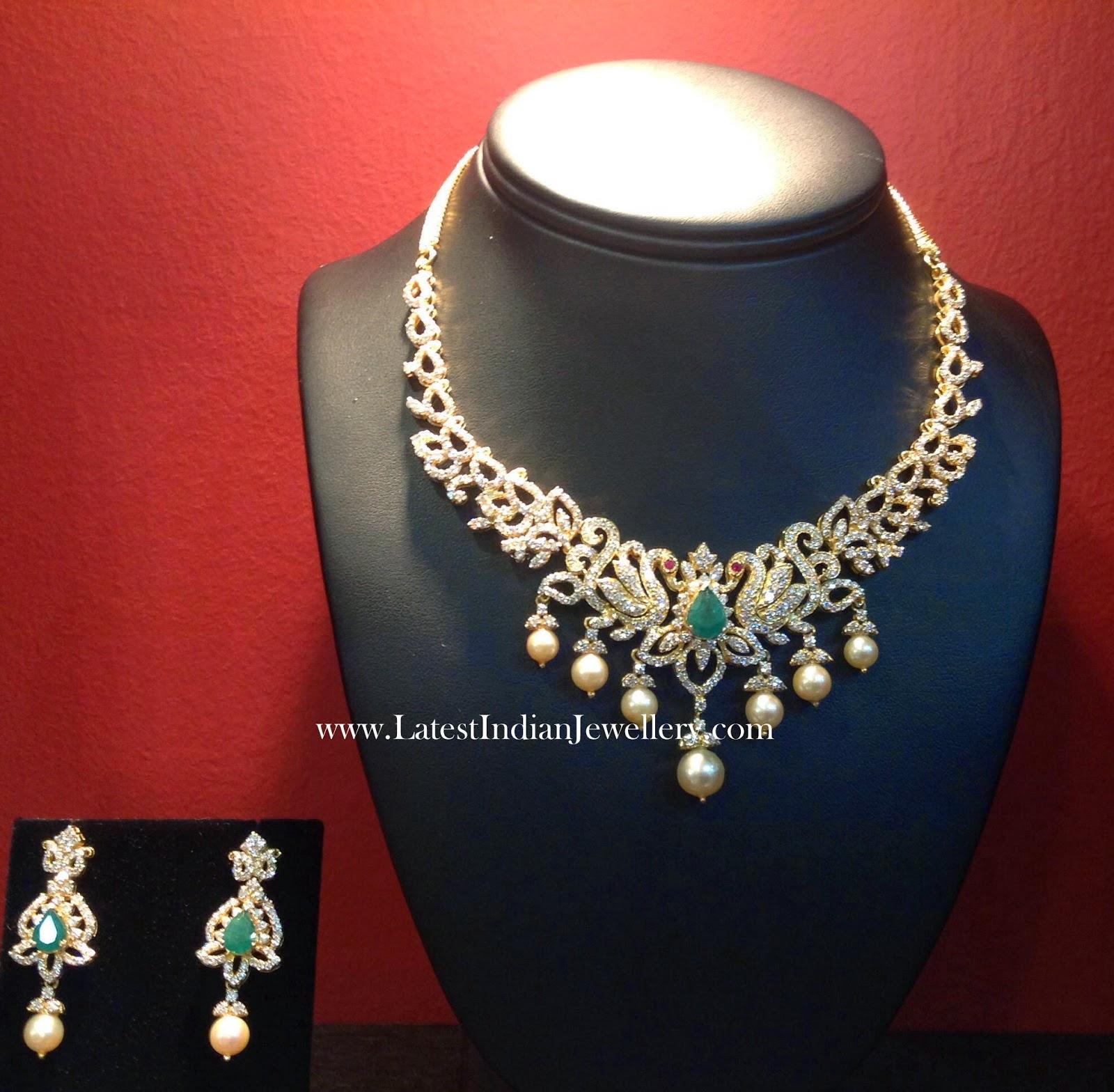 Peacock Design Diamond Necklace Set