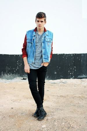 look masculino colete jeans