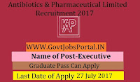Karnataka Antibiotics & Pharmaceuticals Limited Recruitment 2017– Executive