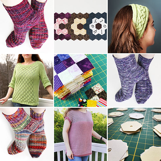 Grid of nine most-liked photos from Instagram: 3 pairs of socks, 2 tops, a knit headband, EPP templates, 3 EPP flower blocks, and a stack of sixteen-patch quilt blocks.