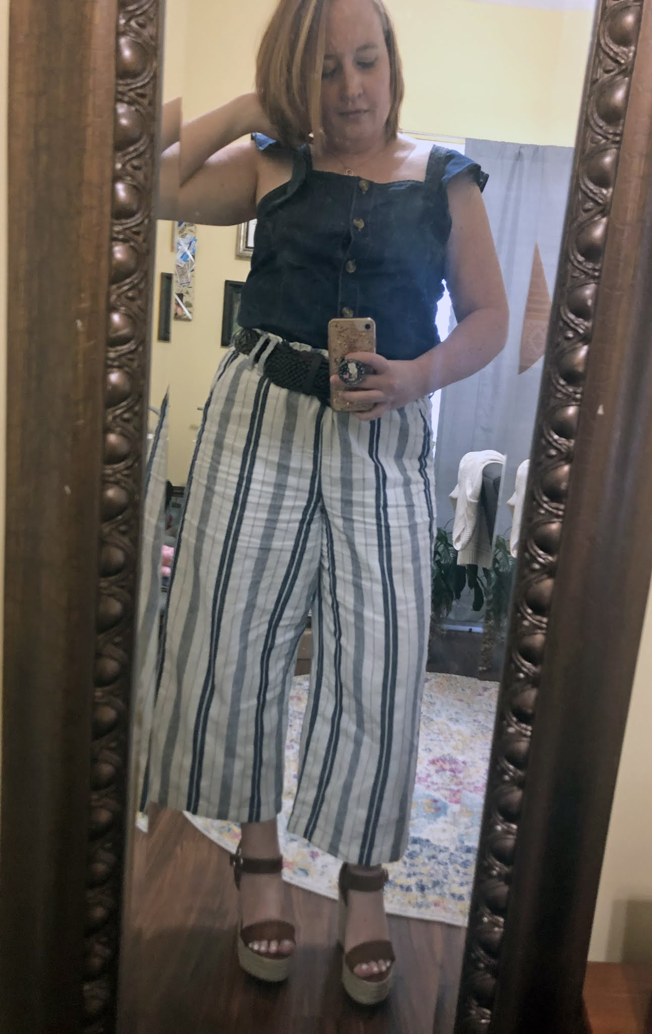 blue striped linen pants outfit