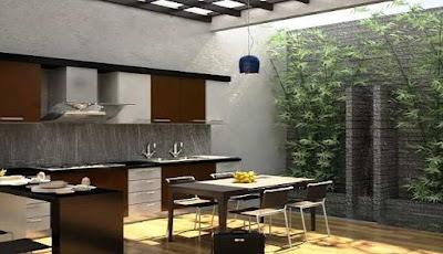 Ruang Makan dengan Taman Dalam Rumah