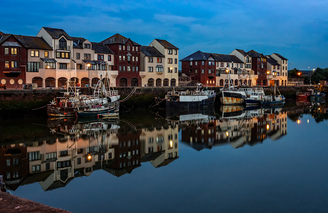 Photo of Maryport Harbour just after sunset