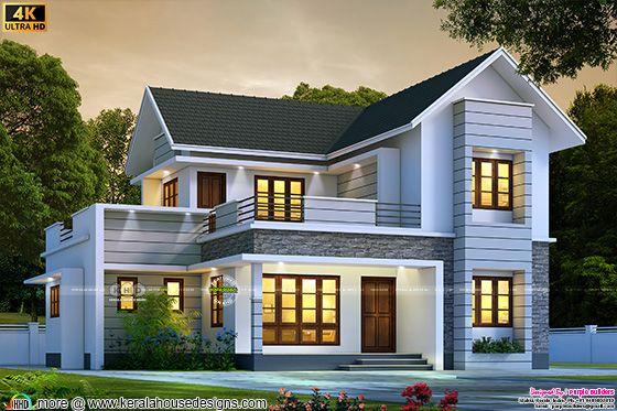 Modern sloping roof style house rendering in an area of 2314 square feet