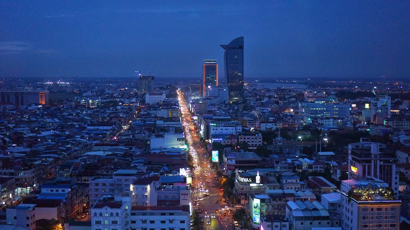 View of Phnom Penh at night from Eclipse Skybar