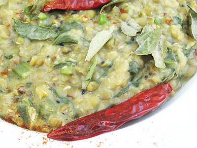 mung beans with fresh mustard greens