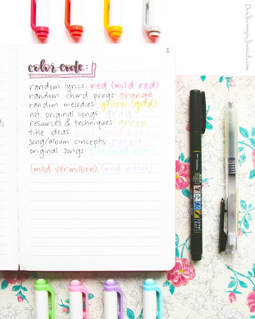 color code for song journal