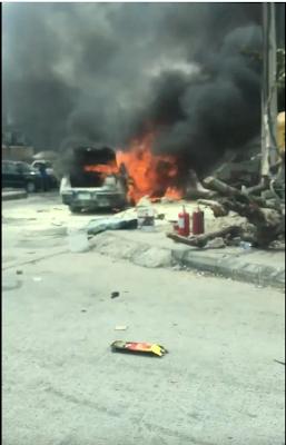 Volkswagen Passat Car Burning At Saka Tinubu, VI , Lagos