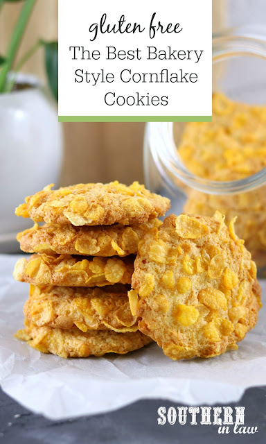 The Best Gluten Free Cornflake Cookies Recipe - Classic cornflake cookies in a stack in front of glass cookie jar in white kitchen