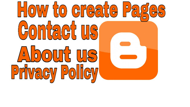 contact us, about us, privacy policy pages in blogger