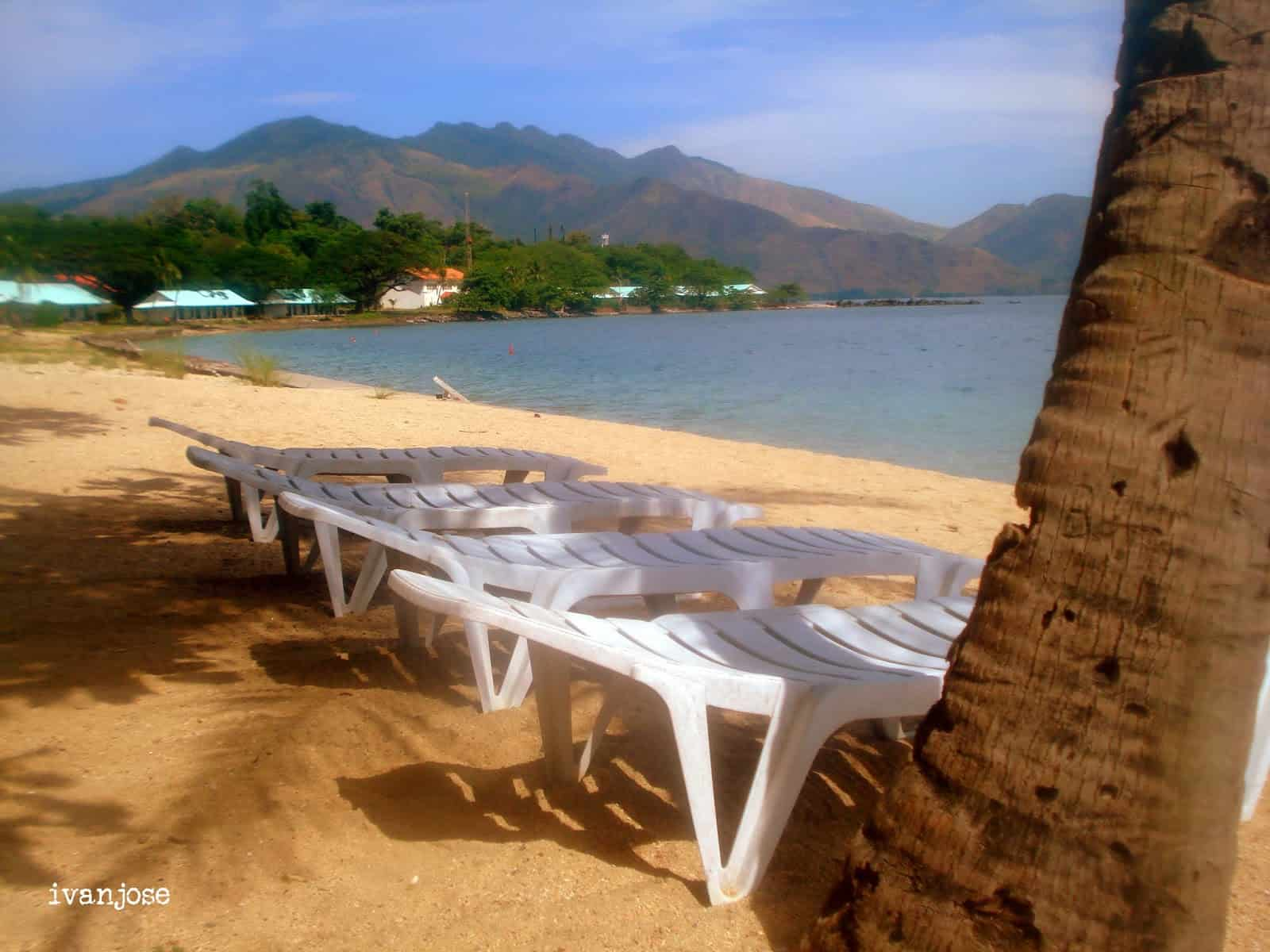 Beach benches at Grande Island Resort