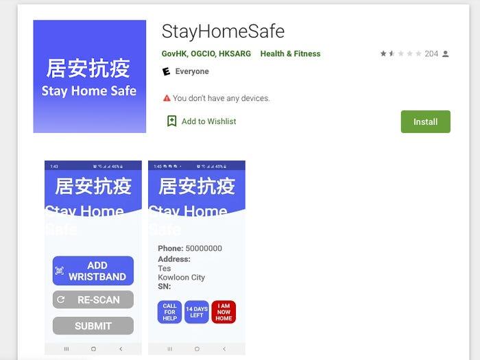 La aplicación StayHomeSafe