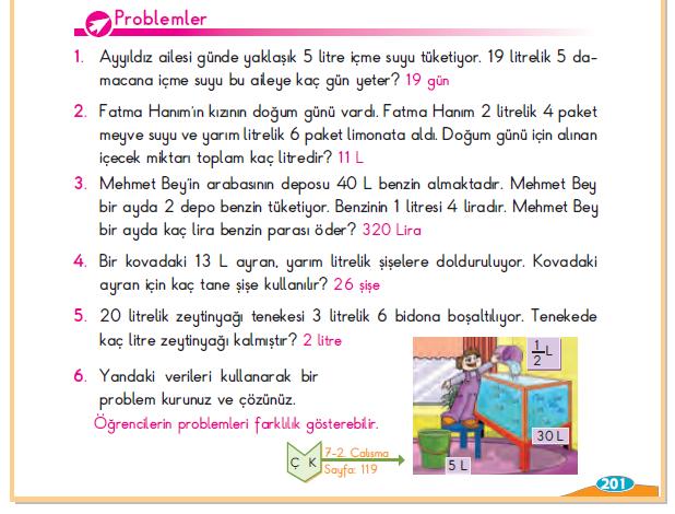 3. Sınıf Berkay Yayınları Matematik Ders Kitabı 201.Sayfa Cevapları Sıvıları Ölçelim