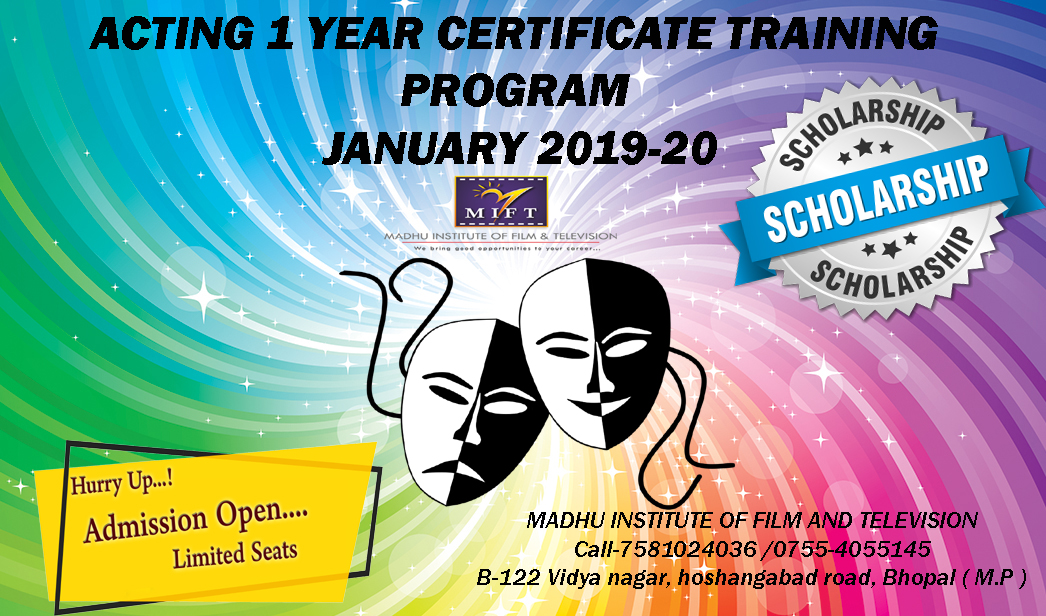 Registration open : Acting 1 year Certificate Training