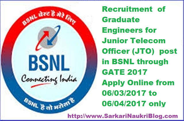 JTO Recruitment in BSNL 2017