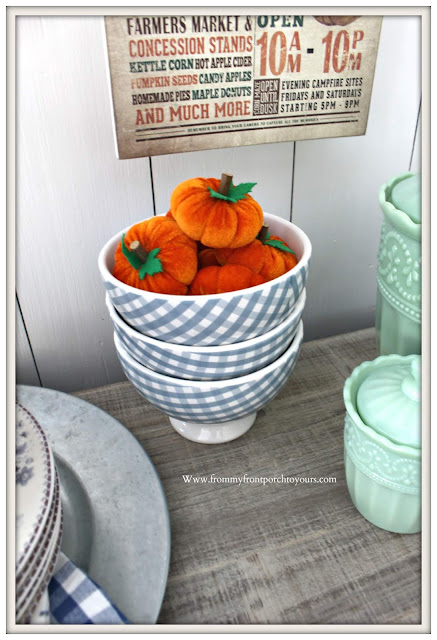 Fall Breakfast Nook Decor-Mini-Pumpkins-Blue & White-Gingham-From My Front Porch To Yours