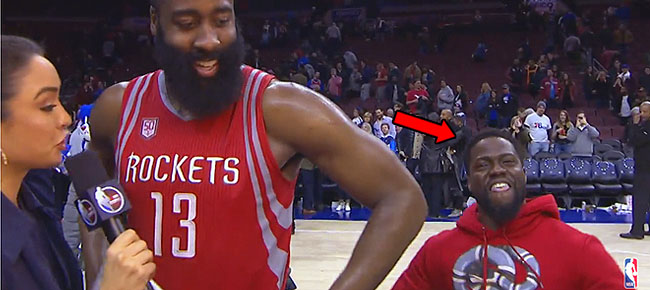Kevin Hart Crashes James Harden's Postgame Interview (VIDEO)