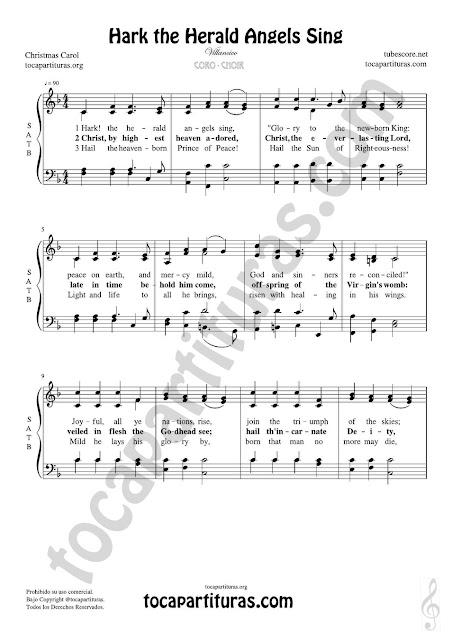 Hark the Herald Angels Sing Partitura de CORO SATB a 4 voces Letra en inglés