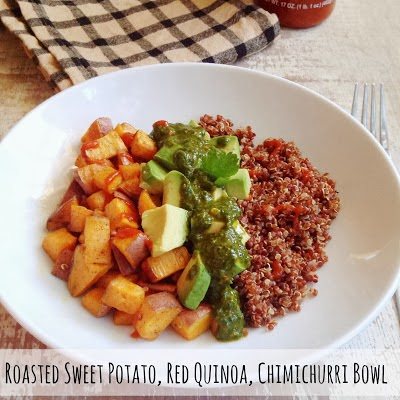 Roasted Sweet Potato, Red Quinoa, Chimichurri Bowl