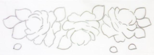 Pintura em tecido ramos de rosas
