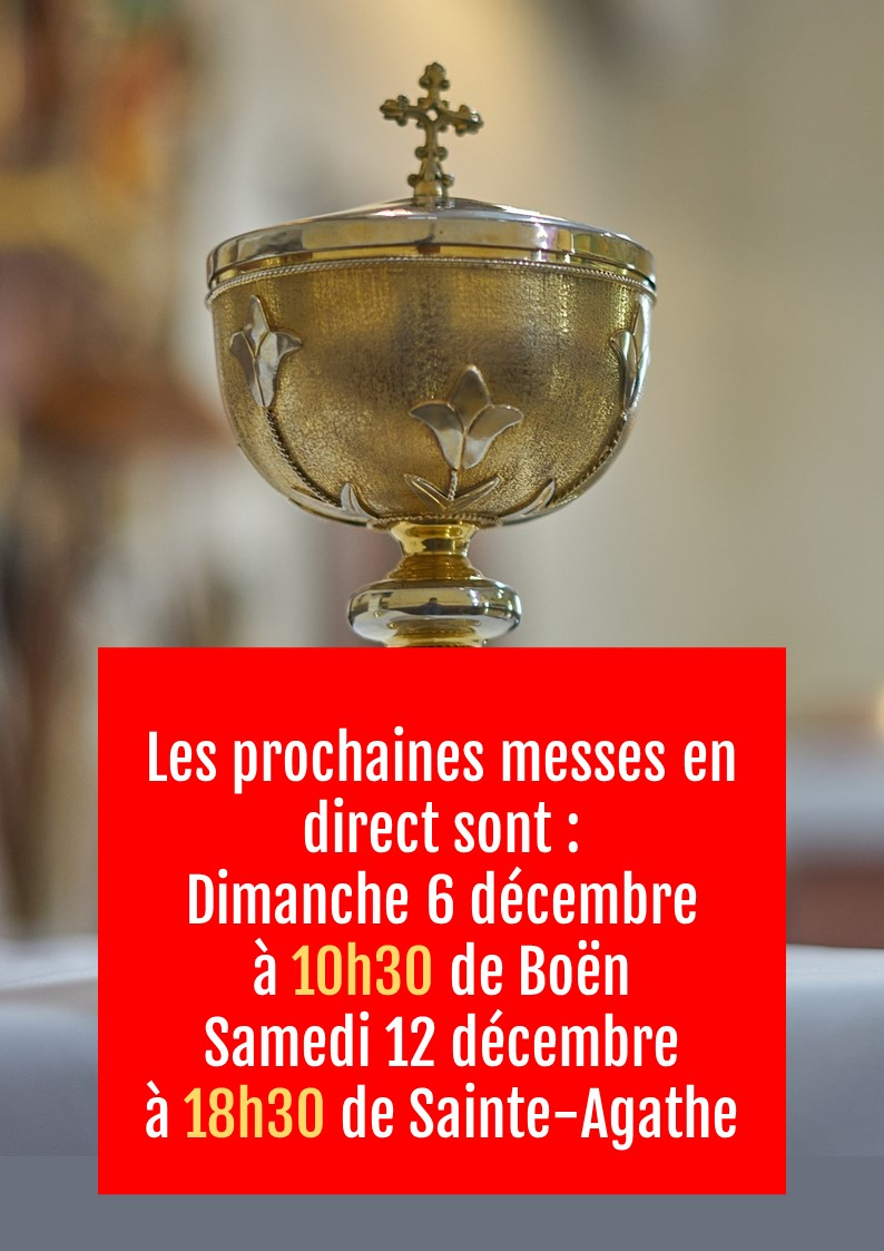 SUIVRE LE MESSE EN DIRECT SUR YOUTUBE