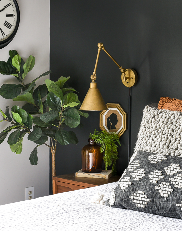 rust pillows and amber bottles for fall