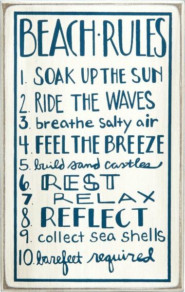 Beach Rules Wood Box Sign