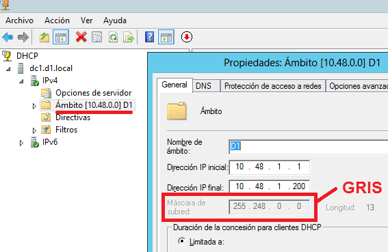 Windows: DHCP cambiar máscara ámbito