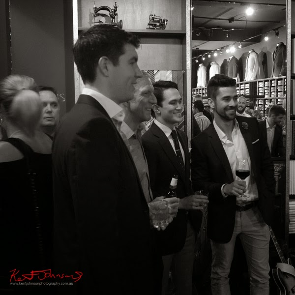 Finalists Allan Bolton, Chris Orr, Julian Kuo, Joris Cuesta; Ganton Man competition at Shirt Bar Sydney - Photography by Kent Johnson.