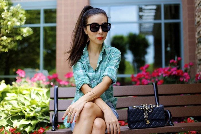 Jcrew green plaid shirt, rag bone denim shorts, dolce vita wedge booties, chanel classic flap bag, marc by marc jacobs, karen walker super duper sunglasses, plaid shirt outfit, plaid shirt streetstyle, fashion blog