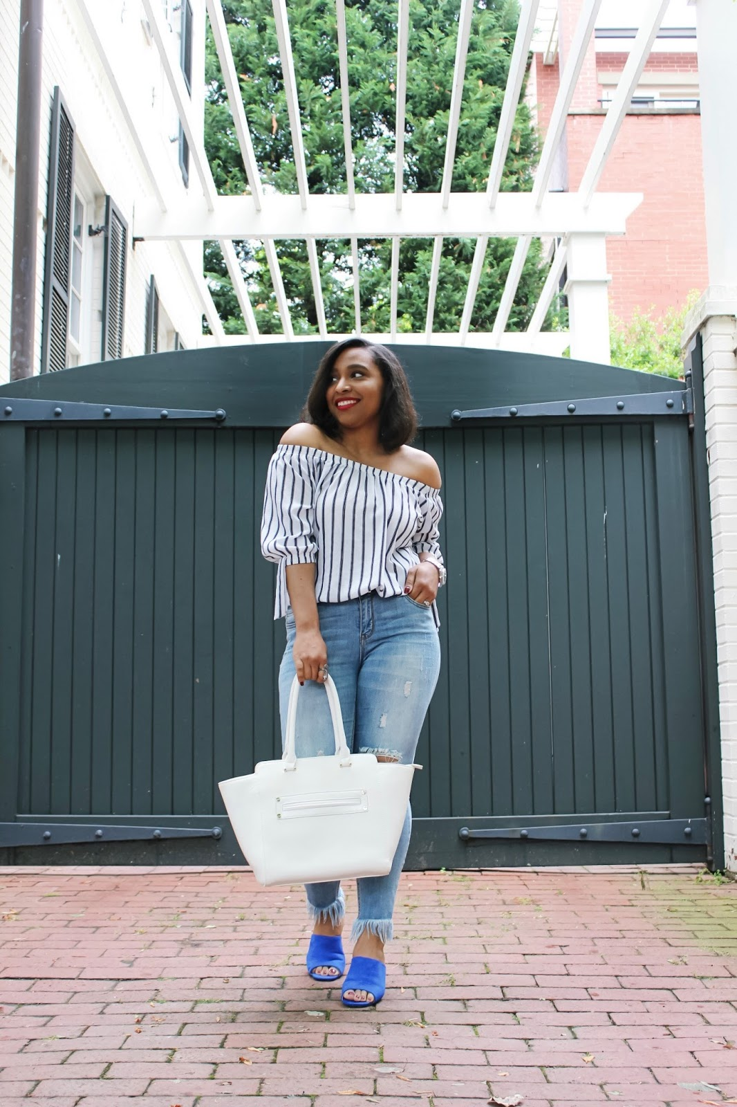 The Pair of Shoes Your Summer Wardrobe Needs, off the shoulder, summer tops, mule shoes, ripped denim, georgetowndc, summer outfits, off the shoulder trend, blue mules, mules shoe trend