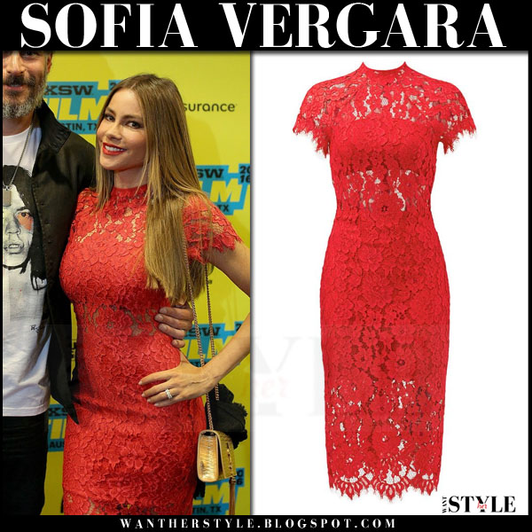 Sofia Vergara in red lace Alexis Leona dress what she wore red carpet