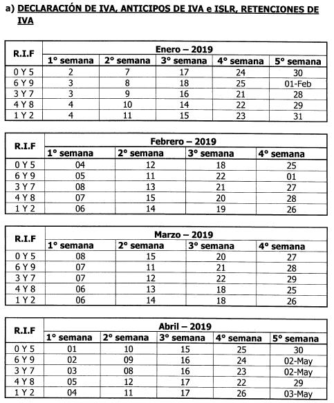 Calendario Con Semanas 2019 Para Imprimir.Calendario De Contribuyentes Especiales Seniat Para 2019