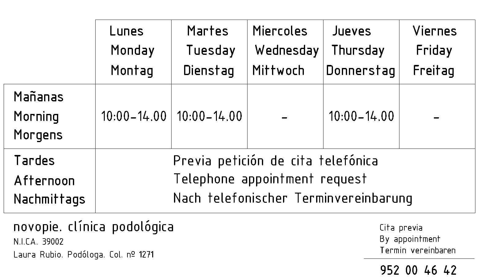 novopie clinica podologica horario de consulta torrox malaga