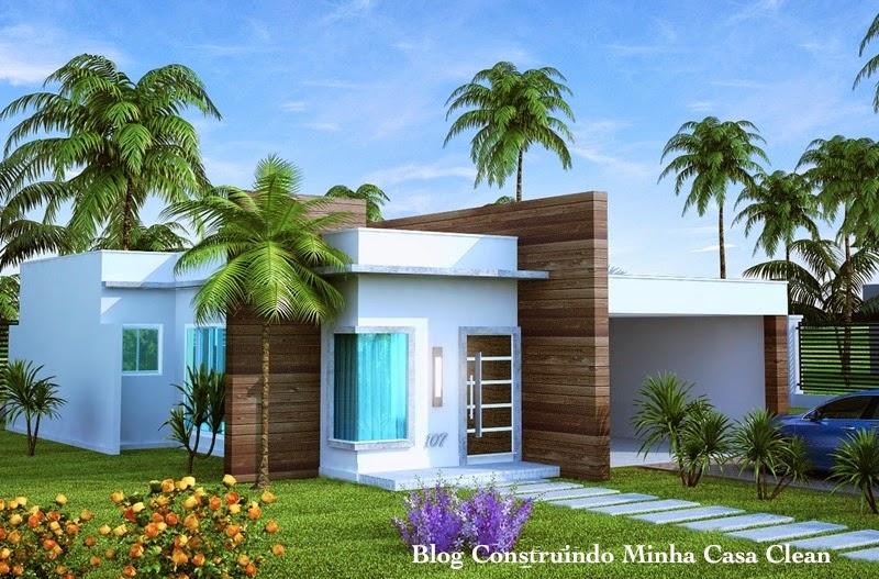 Construindo minha casa clean fachadas de casas t rreas for Fachadas de casas modernas de 2 quartos