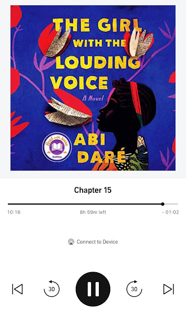 screen shot of the Audible version of The Girl with the Louding Voice