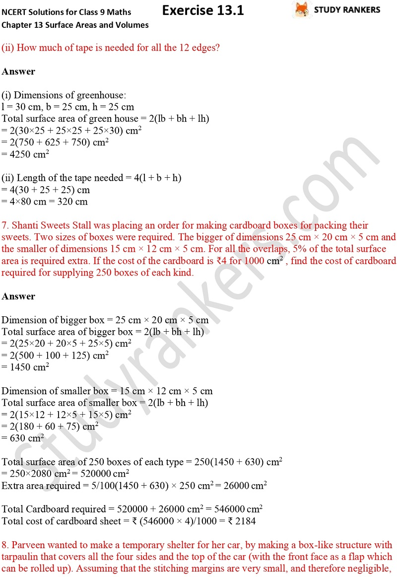 NCERT Solutions for Class 9 Maths Chapter 13 Surface Areas and Volumes Exercise 13.1 Part 3